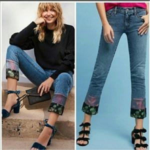 Anthro Pilcro Slim Boyfriend Patchwork Trim Jeans